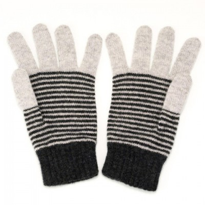 Light Grey and Charcoal Stripy Lambswool Ladies Gloves by Catherine Tough