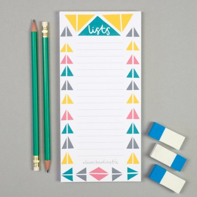 lists, memo pad, notepad, alison hardcastle, print and pattern