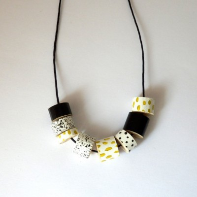 Long Beaded Necklace Monochrome and Mustard