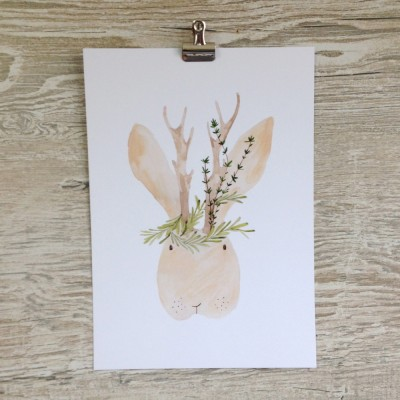Mr Jackalope print by A Wooden Tree