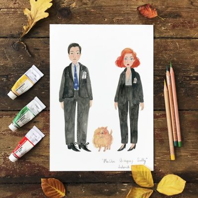 Mulder Queequeg and Skully A4 Print