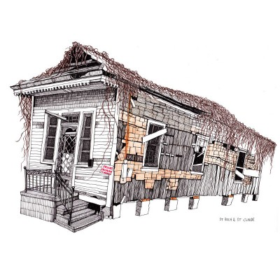St. Rock & St. Claude New Orleans House Shotgun Style by Magda Boreysza