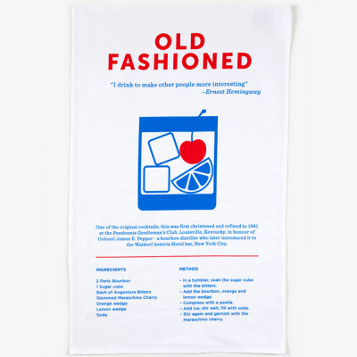 The Old Fashioned tea towel includes a brief history, recipe, and unique design by Crispin Finn of one of the first classic cocktails to be invented.