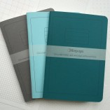 One Page Paper, One Page Patterned Trace - dark grey, turquoise and teal notebooks by olliepops