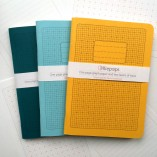 One page graph and two layers of trace - Mustard, Turquoise and teal ollipops notebooks