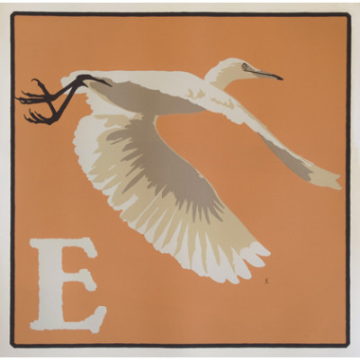 Mid Flight Egret on Orange background above a capital letter E.