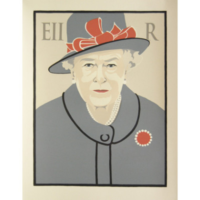 Queen Elizbeth II wears gray and orange and looks out from a buff background with an 'EII' and an 'R' on either side