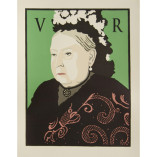 Queen Victoria looks out from a green background with a 'V' and 'R' on either side