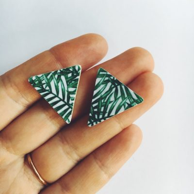 Palm Print Triangle Earrings