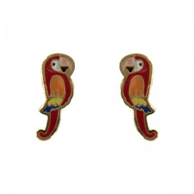 parrot earrings, bird jewellery, tropical bird, enamel jewellery, acorn and will