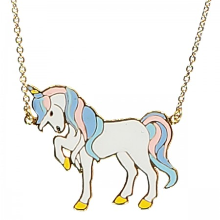 unicorn necklace, mythical creatures, enamel jewellery, horse, acorn and will