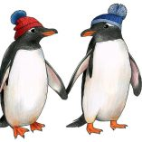 Penguins in bobble hats by Alice Tams