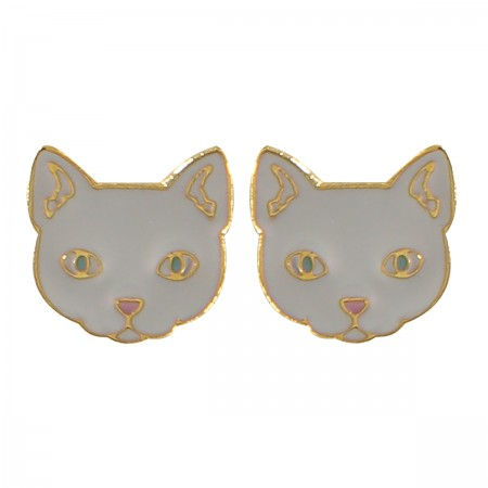 enamel cat earrings, cat jewellery, acorn and will