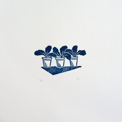 Potting Up Linocut Print