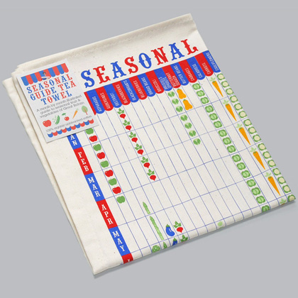 A blue & red grid framework provides the list of months and vegs. A picture of each veg definines when it's in season.