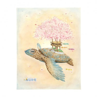 Seasonal Turtle Spring signed print by Hannah Botma