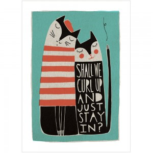 Shall We Curl Up Print by Freya