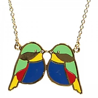 sid and betty necklace, bird jewellery, enamel jewellery, bright, acorn and will
