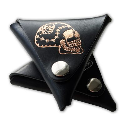 sugar skull, tri coin purse, leather, sodakitsch, foil embossed