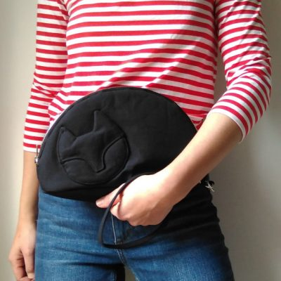 Sleeping Black Cat Clutch Bag - as worn - by Mika Bon Bon at The Red Door Gallery