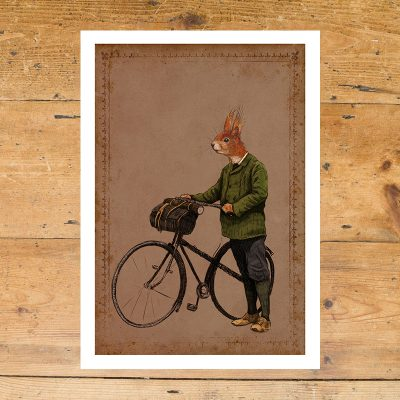 squirrel cyclist, red squirrel, Anthropomorphic, half animals half human, cyclist, ben rothery