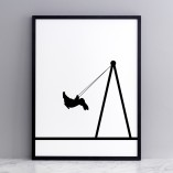 easter,swing, bunny, bunny on a swing, rabbit on a swing, HAM, park, animals on swings, monchrome, monochrome rabbit