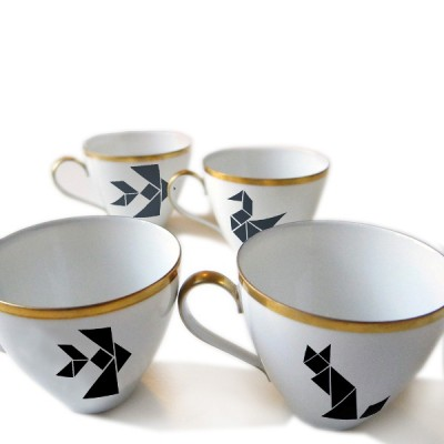 Tangram Porcelain Stickers
