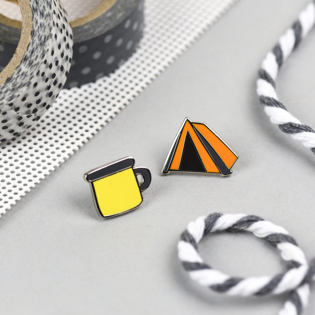 Adventure Pin Set, Enamel Cups and Tents by Hello Sunshine