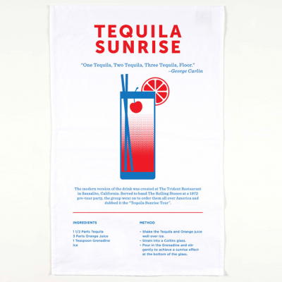 The Tequila Sunrise tea towel includes a brief history, recipe and unique design of this classic drink.
