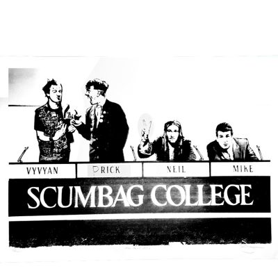 The Young Ones Scumbag College on white by Barry D Bulsara at The Red Door Gallery