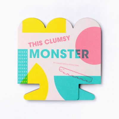 this clumsy monster picture book, great for kids, it's colourful,graphic pages are beautiful, by owl and dog books
