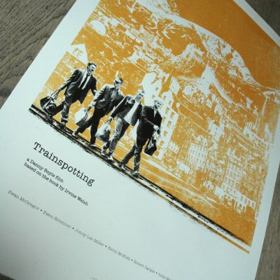 Trainspotting screen print by Barry D Bulsara at The Red Door Gallery