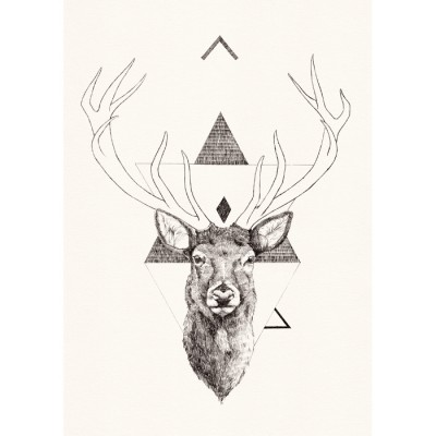 Tri Stag print by Peter Carrington