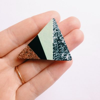 Triangle Party Brooch Mint