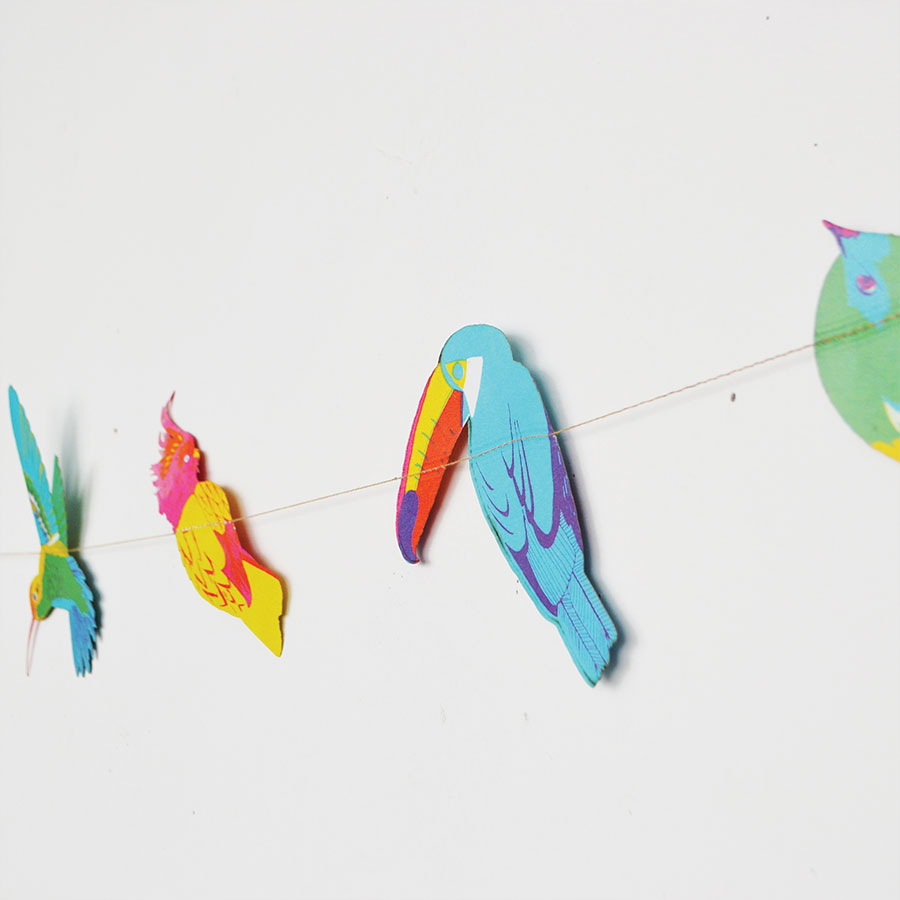 tropical birds garland by East End Press at The Red Door Gallery