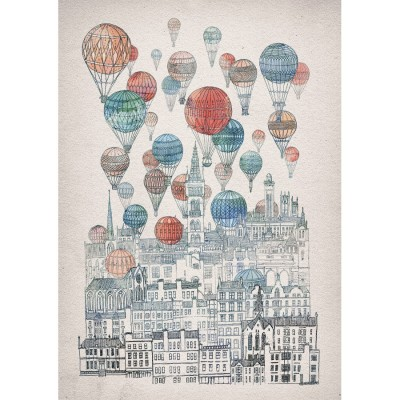 voyages over glasgow, david fleck, scotland, city, hot air balloons