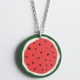 Watermelon Painted Wood Necklace
