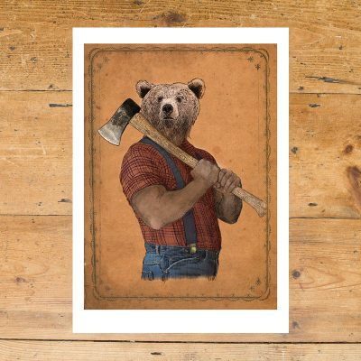 Lumberjack bear, grizzly bear, brown bear, axe, lumberjack shirt, Anthropomorphic, Ben Rothery