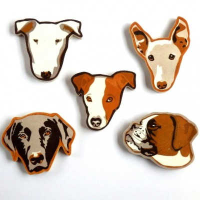 Wooden Dog Brooches