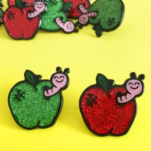 apple, worm, pin badge, enamel pin, cute, cheeky, woah there pickle