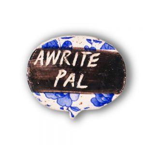 awright pal floral ceramic brooch