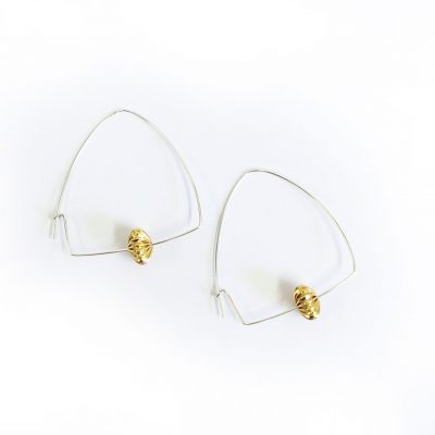 beaded hoop earrings hand made from Silver and Gold Plated Brass by Pistol and Peach