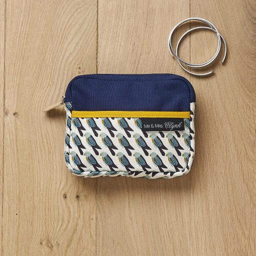 gorgeous screen printed small make up pouch, featuring a cool graphic tropical bird design. Perfect spring/summer colours