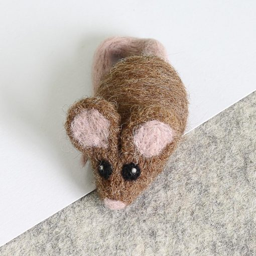 Brown Mouse Brooch Needle Felting Kit by Hawthorn Handmade