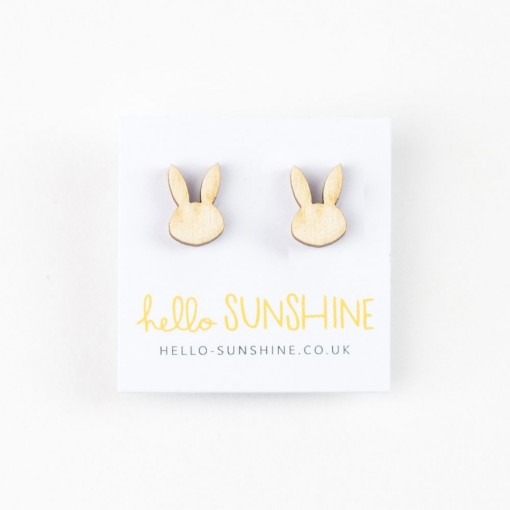 bunny earrings, rabbit jewellery, laser etched, wooden rabbits, hello sunshine