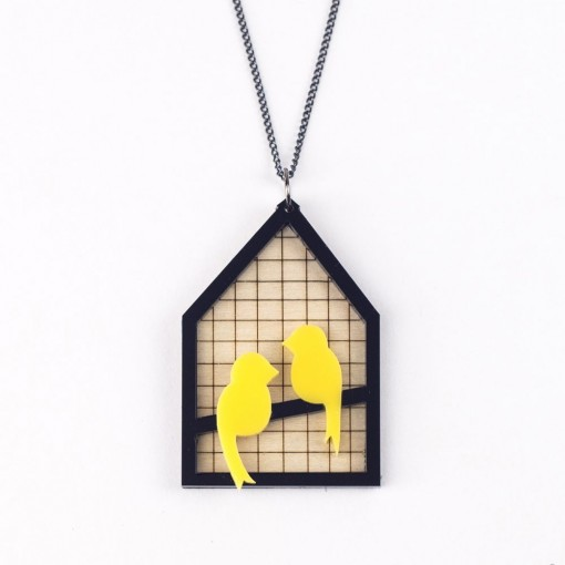 canary, aviary, yellow canaries, laser etched jewellery, wood, acrylic, animal jewllery