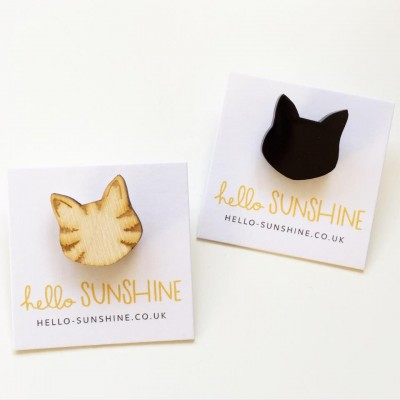 tabby cat, cats, cat brooch, love cats, wooden cat, cat badge, cat brooch, hello sunshine, pets, unique jewellery, cat necklace, cat cufflinks, mens, shirts, lapel pin