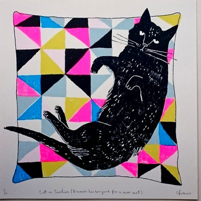 cat on cushion, cats, catitude, cushions, screen print, charlotte farmer