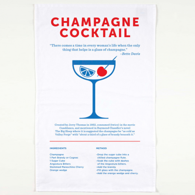 The Champagne Cocktailtea towel includes a brief history, recipe and unique design of this classic drink.