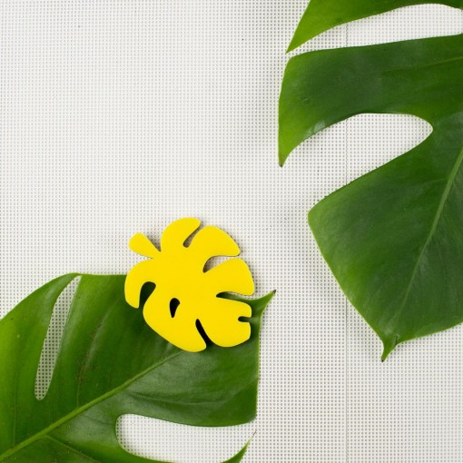 cheese plant, monstera plant, yellow, jewellery, lapel pin, plant brooch,